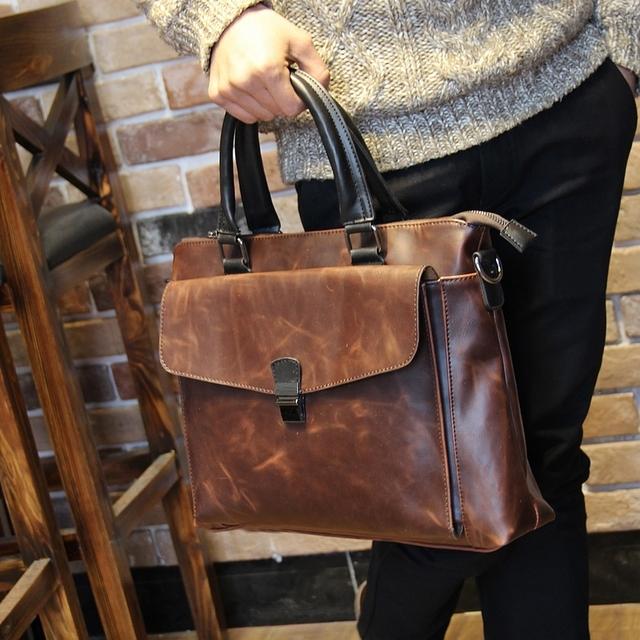 Novos homens do desenhador de couro pu pasta do negócio bolsa retro lazer sacos do mensageiro marrom bolsa para laptop sacos de viagem de alta qualidade
