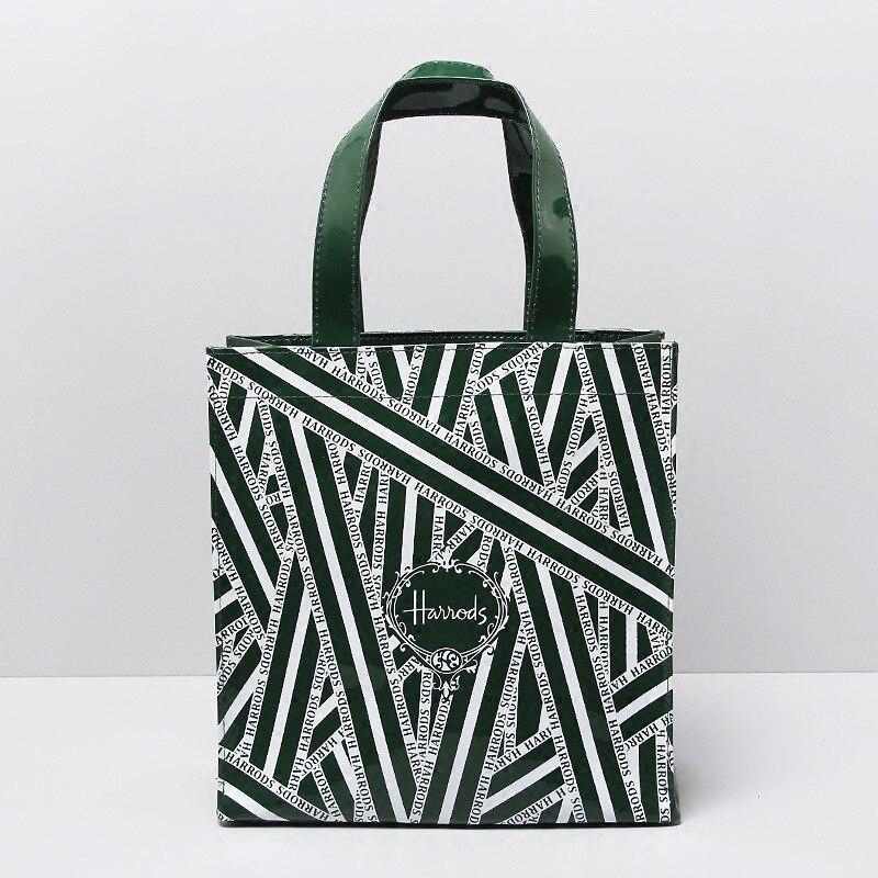Green Striped Pvc Waterproof Shopping Bag Large Capacity Bento Bag Women Handbag