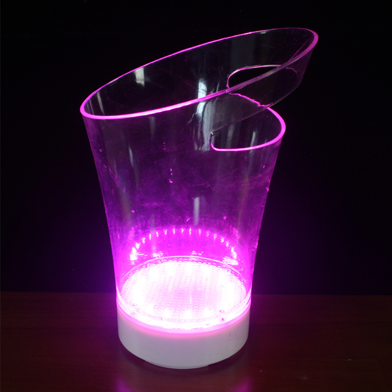 Seau à glace en acrylique avec LED Rechargeable