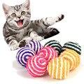 Кошка питомец сизаль веревка плетеные шарики Прорезыватель играть Жевательная погремушка царапин ловить игрушка Kedi Malzemeleri # P - фото