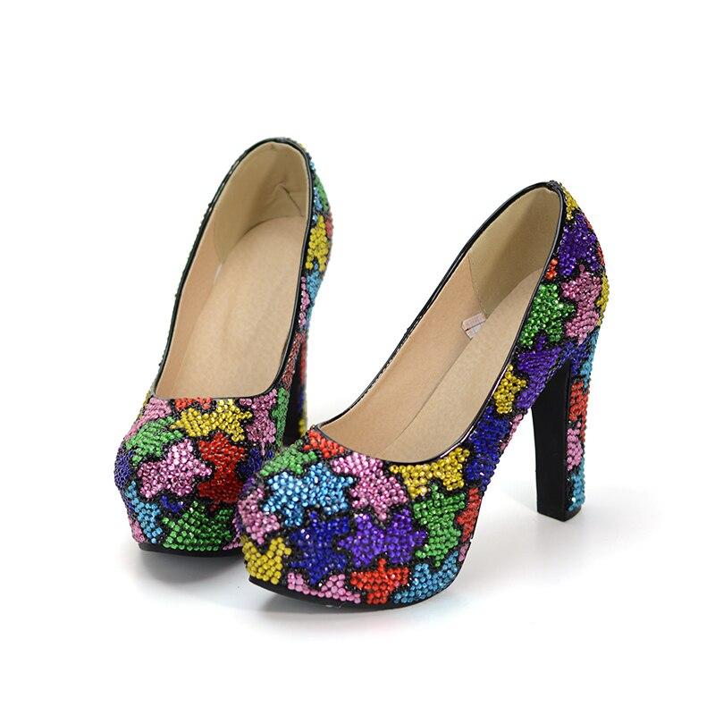 Luxueux 12cm Conception Color Couleur Heels Strass Bal La De Complexe Pompes Épais Partie Cendrillon Géométrie Chaussures Mix Talon Mariage Femmes 1rT1xUwq5