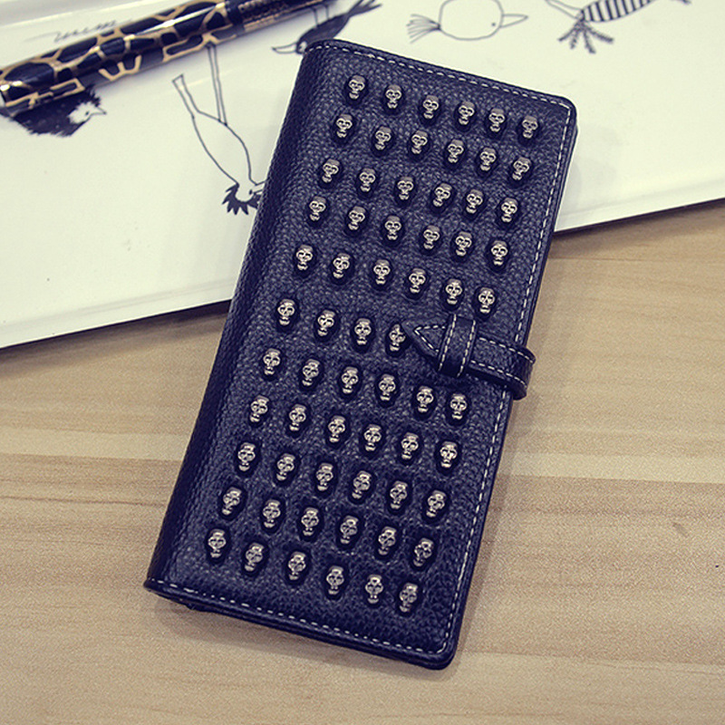 PU Leather Fashion Punk Wallet Womens Skull Head Studded Long Purse Clutch Bag Female Zippers Card Holders Black