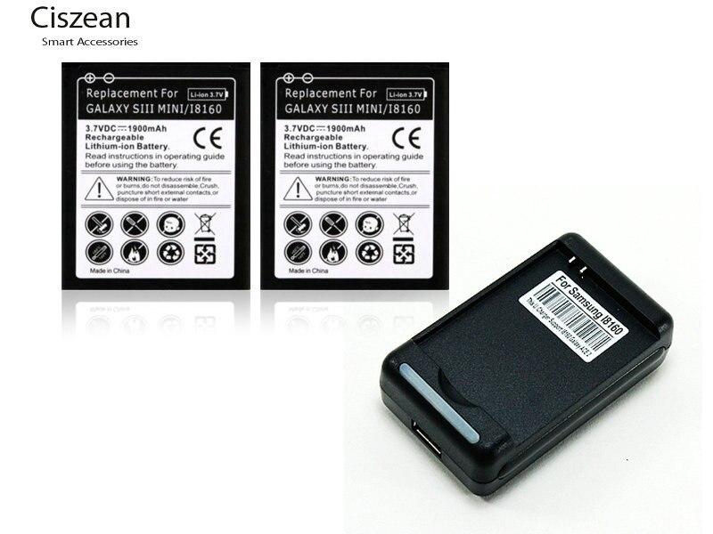 2x 1900mAh EB425161LU Replacement Battery +USB Charger For Samsung S3 Mini I8190 ACE2 I8160 I699 S7562 S9920 J1 Mini J105H