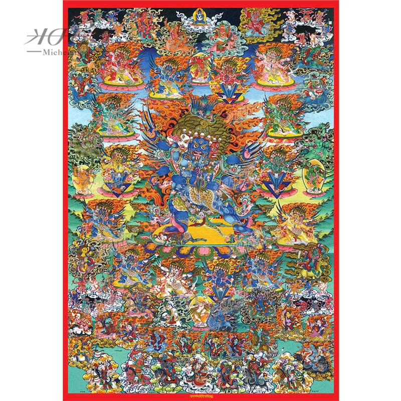 Michelangelo Wooden Jigsaw Puzzle Tibetan Buddhist Mahakala Thangka Painting Toy Decorative DIY Gift Art Collectibles Home Decor