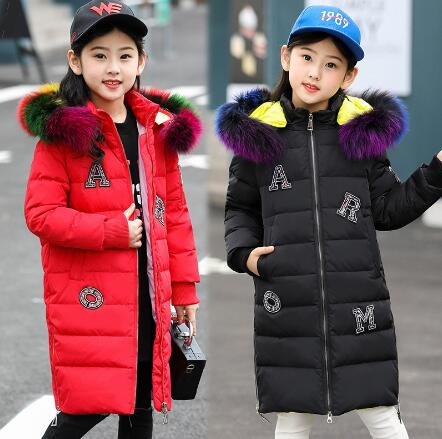 Fashion Girls Winter Coat Children Warm Duck Down Jacket Kids Winter Clothes Girl thicken Overcoat Outerwear Hooded Parka girl winter coat 2018 fashion children warm hooded jackets girls cotton padded long parka outerwear kids casual thicken clothes