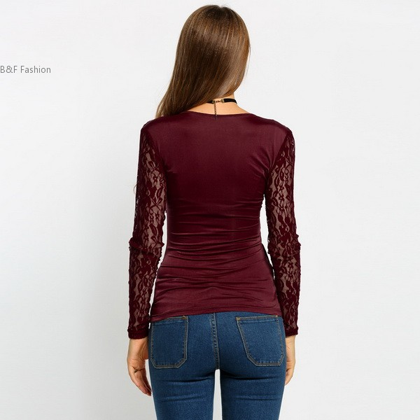 caa50a70e4 US $9.98 |Sexy Women Deep V Neck Lace Long Sleeve Faux Wrap Ruched Slim  Tops-in T-Shirts from Women's Clothing on Aliexpress.com | Alibaba Group