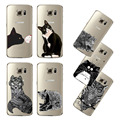 Ultra fino transparente suave negro blanco gato búho águila cubierta del teléfono celular para Samsung Galaxy S5 S6 S6Edge S7 s7edge caso trasero