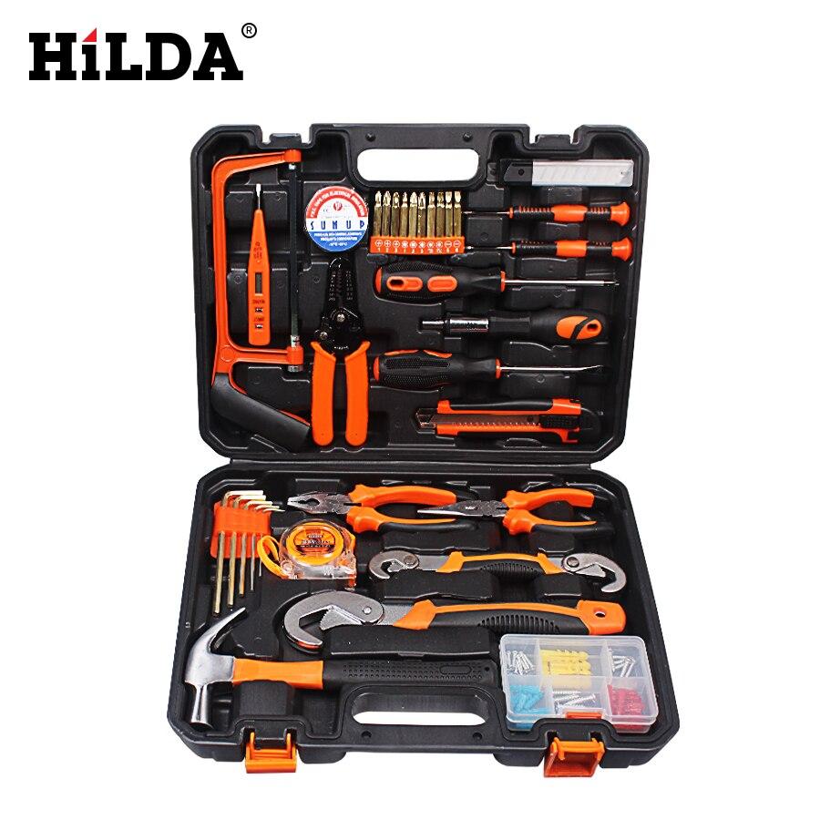 HILDA Main Tool Set Général Ménage D'outils À Main Kit avec Boîte À Outils En Plastique De Stockage Cas Clé À Douille Tournevis Couteau