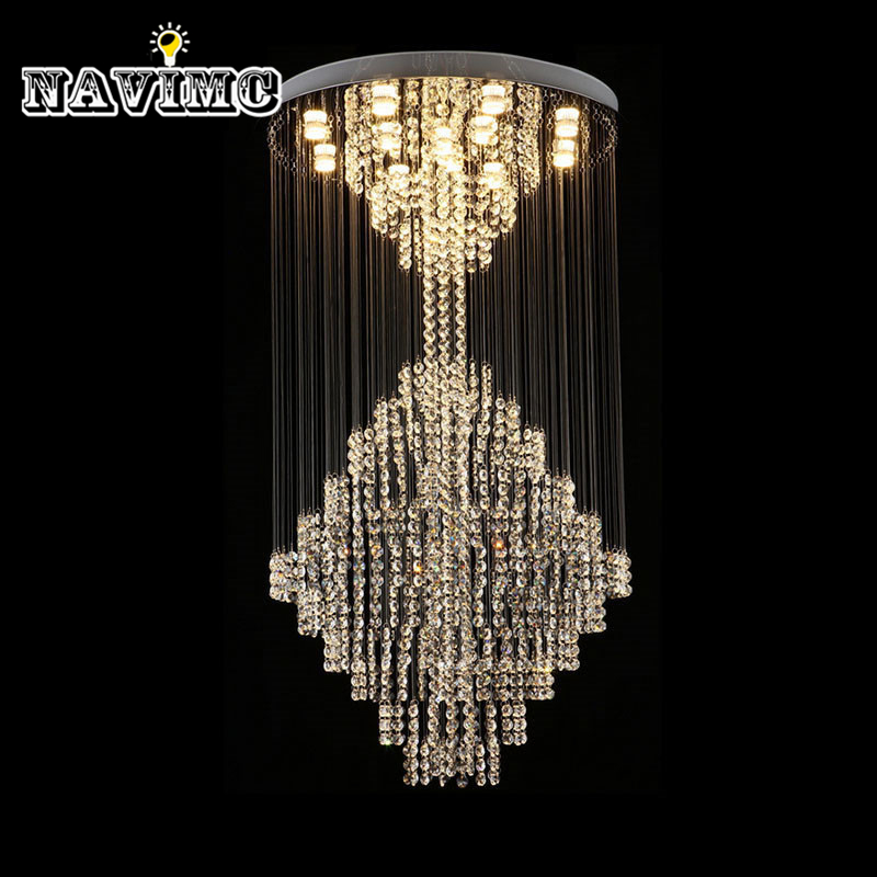 Luxury Modern Large Crystal Chandeliers Lighting Fixture for Long Stair Hotel Villa