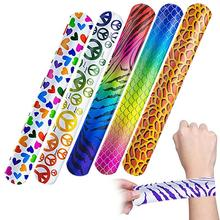 FunPa 100PCS Slap Bracelet Party Gifts Animal Design Patterns Hearts Printed Party Wrist Strap Slap Bands Party Favors