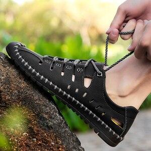 Image 5 - 2019 neue Sommer Männer Aus Echtem Leder Sandalen Business Casual Schuhe Männer Im Freien Strand Sandalen Römischen Männer Sommer Wasser Schuhe Größe 48