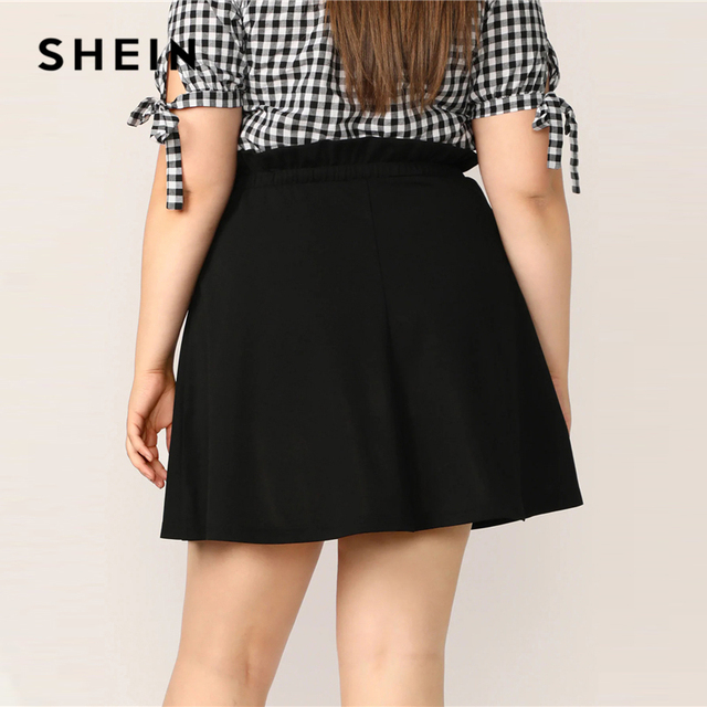 SHEIN Plus Size Black Paperbag Waist Button Up Flare Skirt  2019 Women Summer Casual A Line Solid Big Size Above Knee Mini Skirt 2