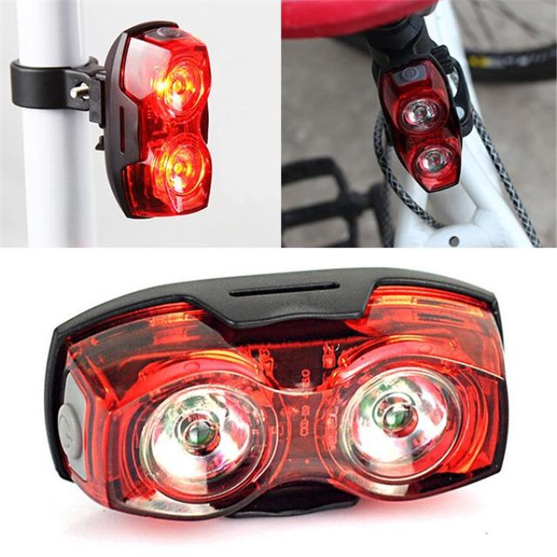 Cycling Night Super Bright Red 2 LED Plastic achterlicht - Wielersport