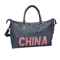 Kadın Oxford Seyahat Çanta Klasik Dikiş Çin Baskı Bagaj Çantası Büyük Kapasiteli Tote Çanta Mektup Tasarımcı Omuz Çantası