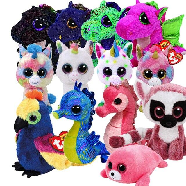 """Ty Vaias Gorro 6 """"15 cm Saffire o Dragão Morcego Cão Da Vaca Dangler Plush Macio Regular Big-eyed brinquedos de pelúcia Animal para crianças"""