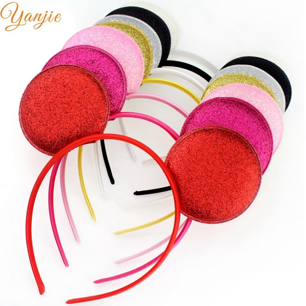 30pcs lot Gold Silver Glitter Minnie Ears Headband For Girls And Kids DIY Headbands Hair Bands