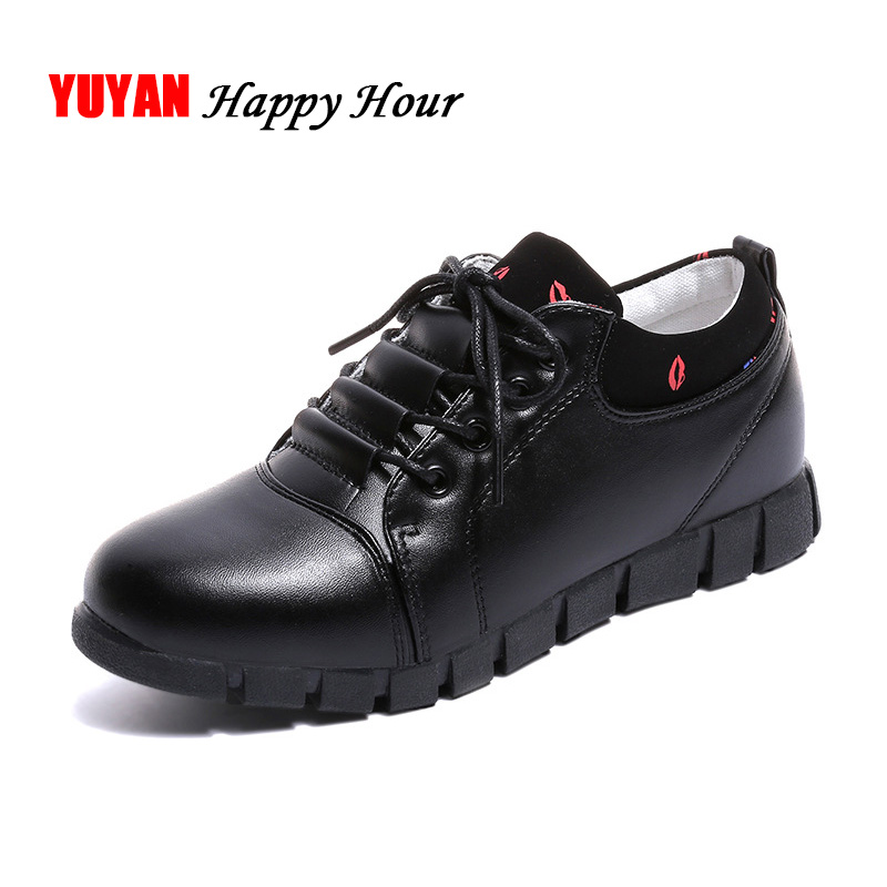 цена на Casual Shoes Women Leather Shoes Thick Sole High Quality Women's Flats Sweet Ladies Black White Shoes A349
