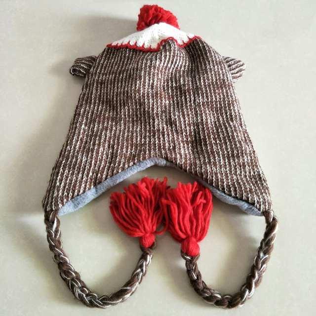 5c81e6889 US $4.8  Cartoon Animals Cute Monkey Knitting Cotton Beanies Cap Plush  Winter Warm Red Mouth Monkey Frog cat Hats Kid Child Fleece Lining-in  Skullies ...