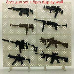 8 шт., модель игрушечного пистолета MP5 HK53 UZI MK18 KRISS VECTOR MP7, пазлы, Строительные кирпичи, оружие солдат + дисплей, стена