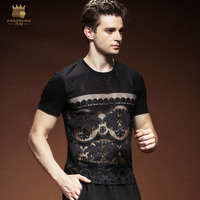 Fanzhuan Free Shipping 2018 Male Men's man Personality lace hollow T shirt Summer thin sexy night breathable short sleeve 815129
