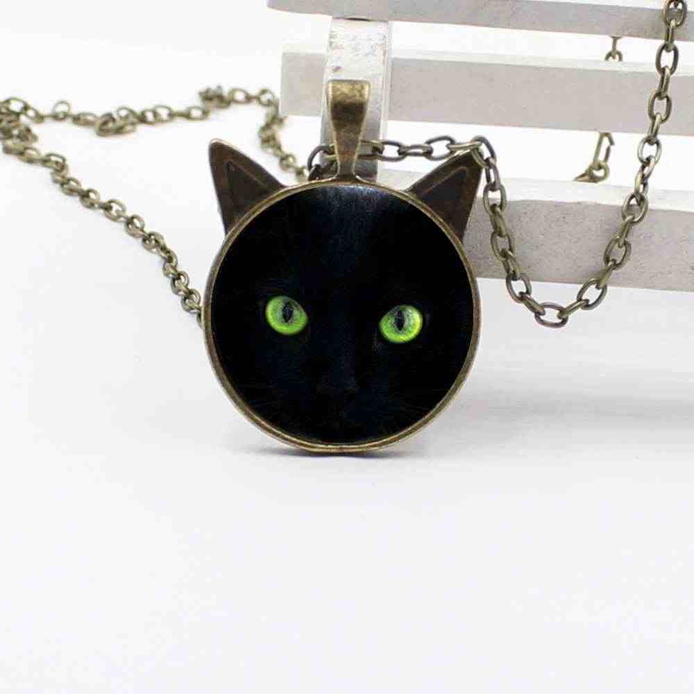 Green Eyes Black Cat Necklace Ear Pendant Jewelry Glass Necklace Boy Girl Gift Jewelry