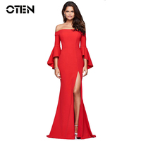 OTEN Women Sexy Long Dress Ladies Off Shoulder Ruffle Sleeve High Split Floor Length Evening Party