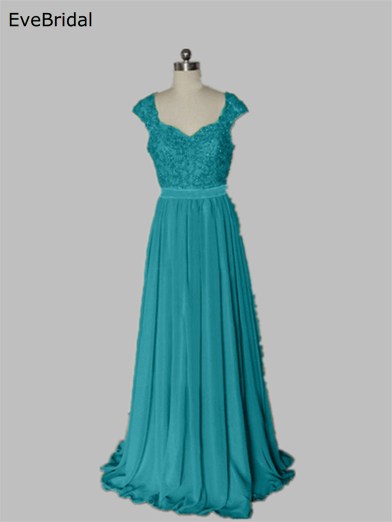 Wholesale Stock Applique Beading Sesuines Full Length Bridesmaid Dress Wedding Party Dress Size 4 6 8 10 12 14 16
