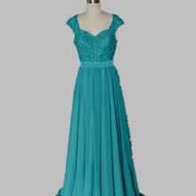 Wholesale Stock Applique Beading Sesuines Full Length bridesmaid dress