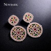 Estilo Étnico NEWBARK Oorbellen Multicolor Piedra De Cristal de Bohemia Pendientes Joyería de Moda Cubic Zirconia Moda Gran Caída de la Elección