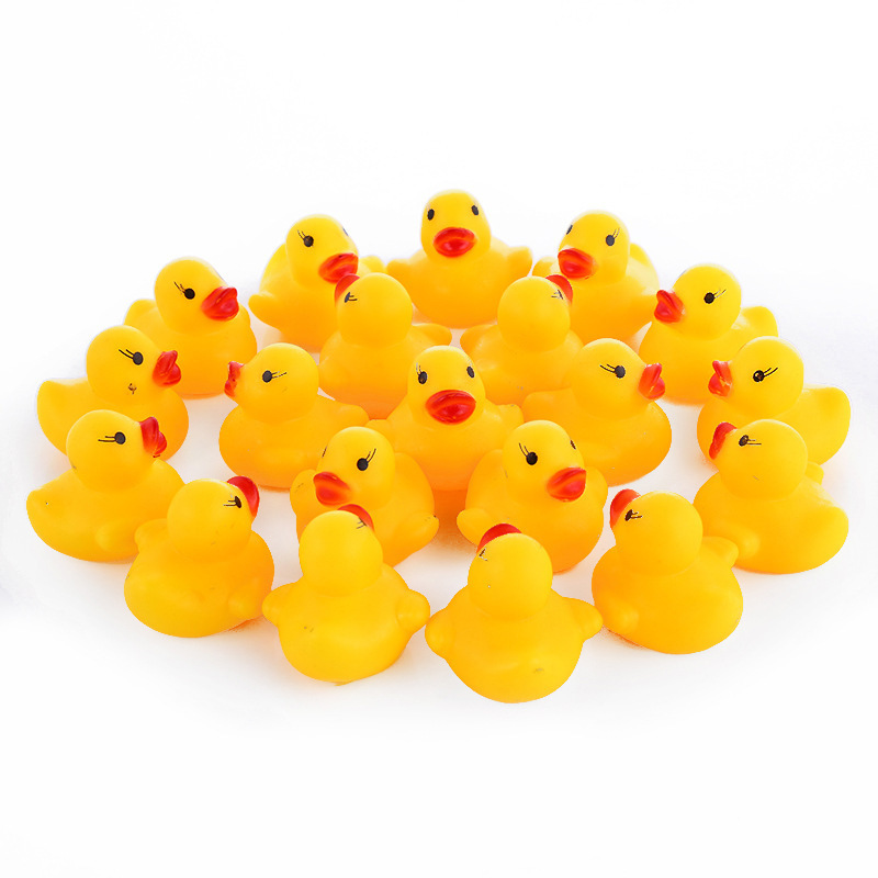 100 Pcs/lot Kawaii Baby Floating Squeaky Rubber Ducks Kids Bath Toys for Children Boys Girls Water Swimming Pool Fun Playing Toy rubber pig baby bath toy for kid