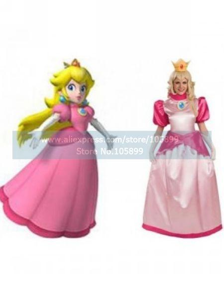 Super Mario Bros Princess Peach Lovely Game Cosplay Costume