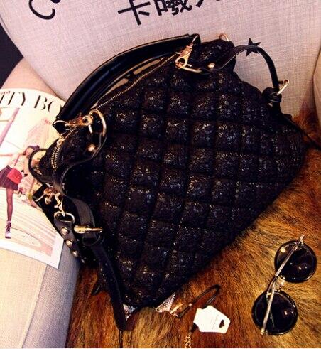 ФОТО 2017 women handbags female bag big women messenger bags diamond lattice rivet shoulder bags free shipping