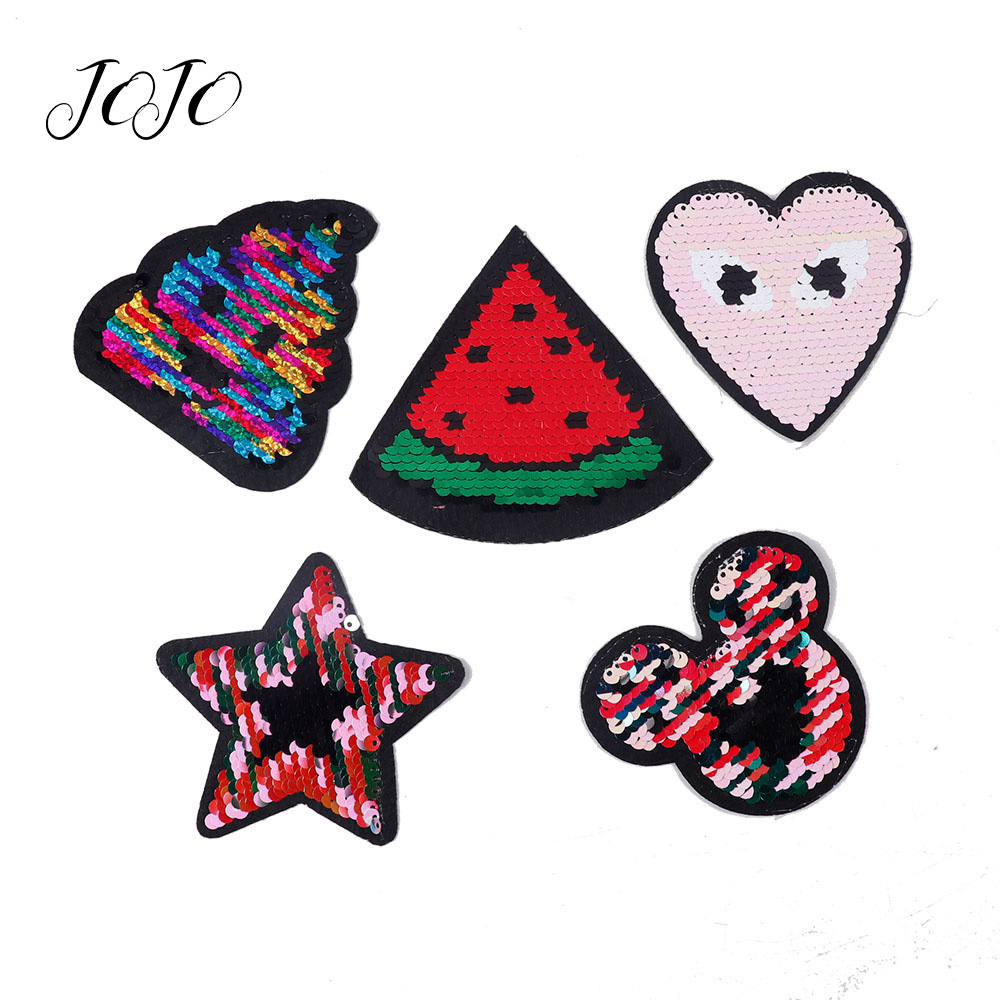 JOJO BOWS Sparkly Reversible Sequin Patch Ice Cream Watermelon Heart Star Mickey Accessory For Needlework DIY Hair Bow Supplies
