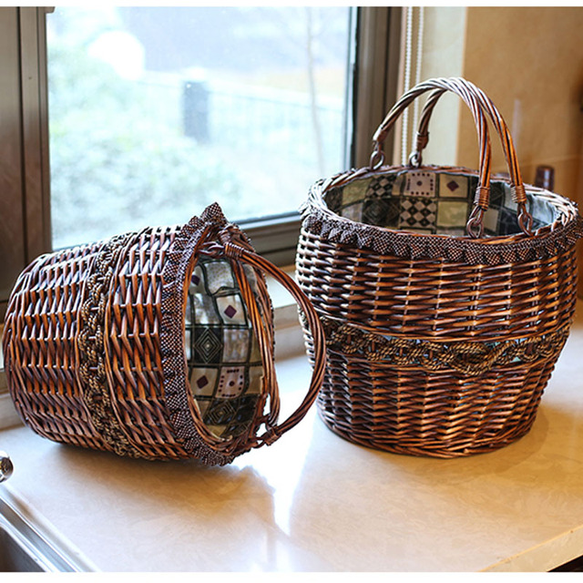 Handmade Round Vintage Wicker Laundry Basket Home Decoration Storage Baskets For Toys Flowers Fruits Gift