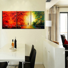 Triptych 3 piece canvas wall art set hand painted knife paint beautiful landscape oil painting on canvas for dinning room decor