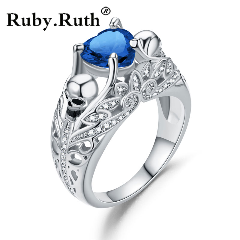 Skull Heart Shape CZ Stone Silver Promise Ring for Women Fashion Jewelry Wedding Gift