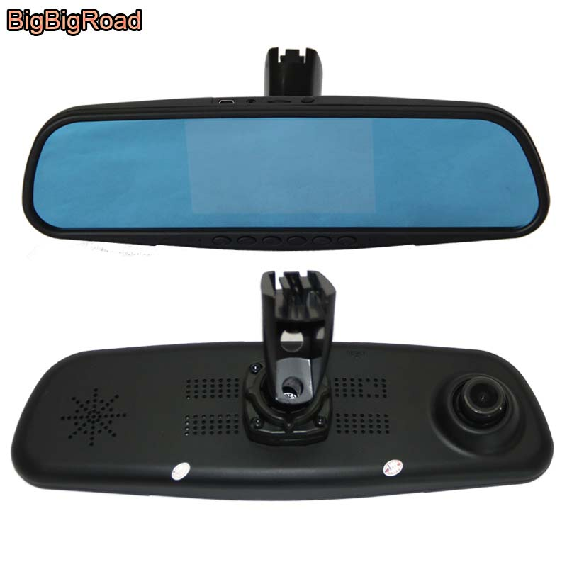 BigBigRoad Car Mirror DVR Driving Video Recorder Camera Dash Cam Blue Screen Dual Lens with Special Bracket For citroen C4 bigbigroad for nissan qashqai car wifi dvr driving video recorder novatek 96655 car black box g sensor dash cam night vision