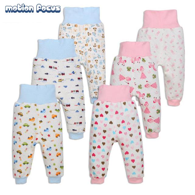 Bebê Meninos Meninas de Cintura Alta Engrossar Calças de Veludo Calça Casual Impresso Calças Leggings Crianças Roupas Bebê Recém-nascido 3 unidades/pacote