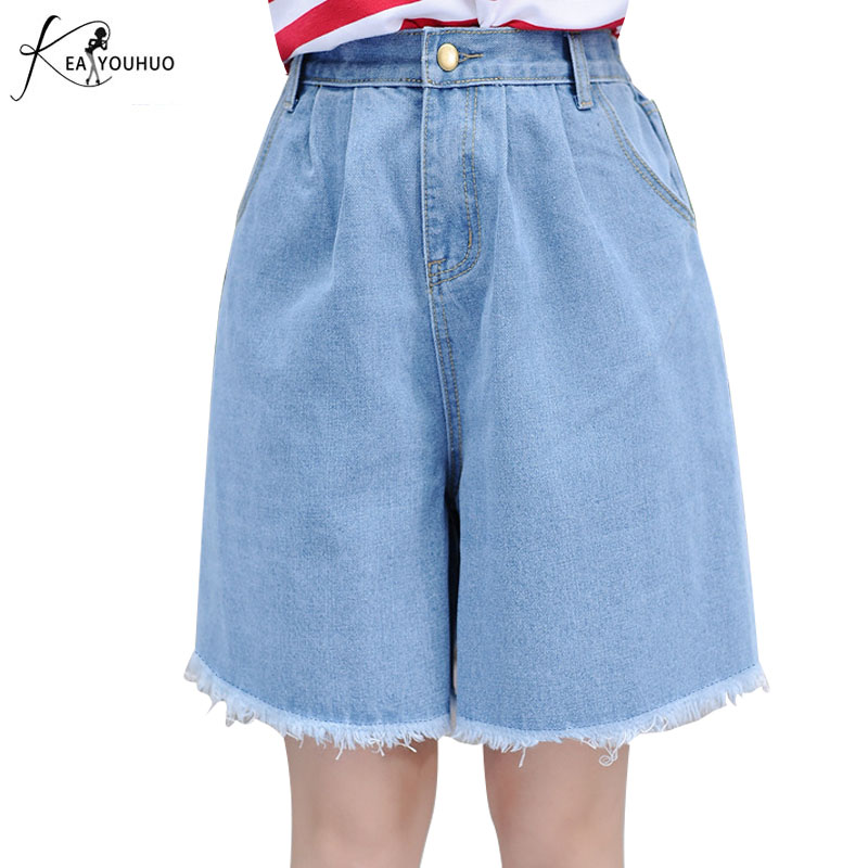 2019 Hot Summer   Jeans   Elastic High Waist Knee Length Pants   Jean   Denim Shorts For Women Shorts   Jeans   Woman Black White Large Size