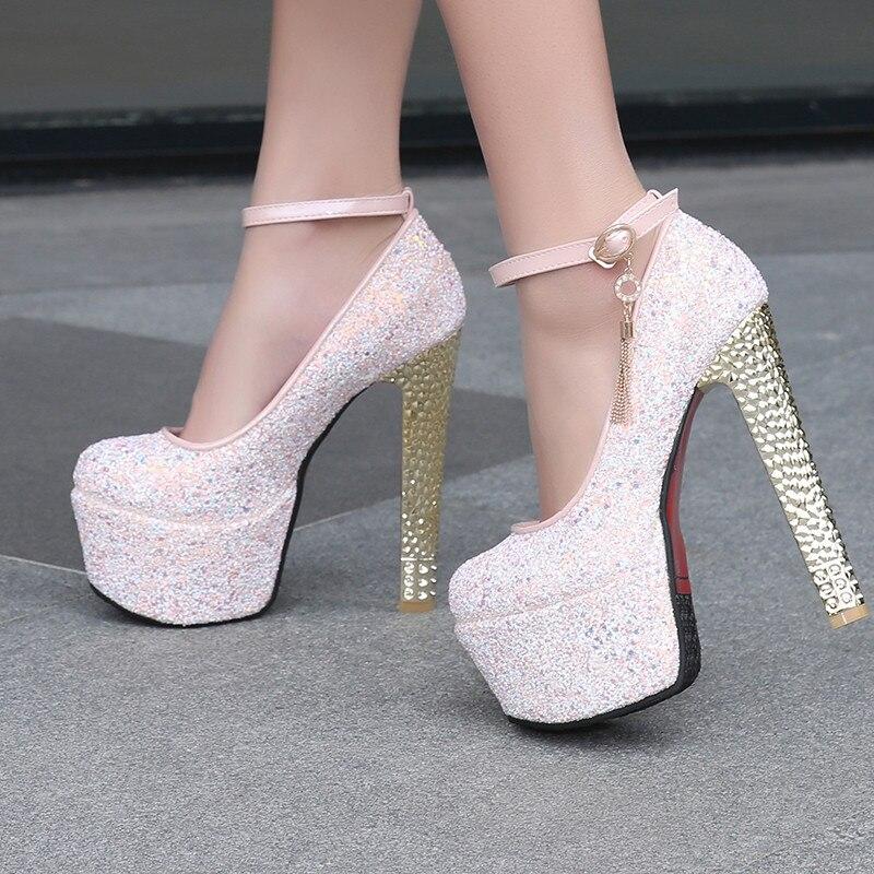 Ayakk.'ten Kadın Pompaları'de YMECHIC Bayan Platformu Parti Düğün Extreme Yüksek Topuklu Ayakkabılar Kadın Bayan Beyaz Pembe Mavi Ayak Bileği Kayışı Büyük Boy Gelin Pompaları ayakkabı'da  Grup 1