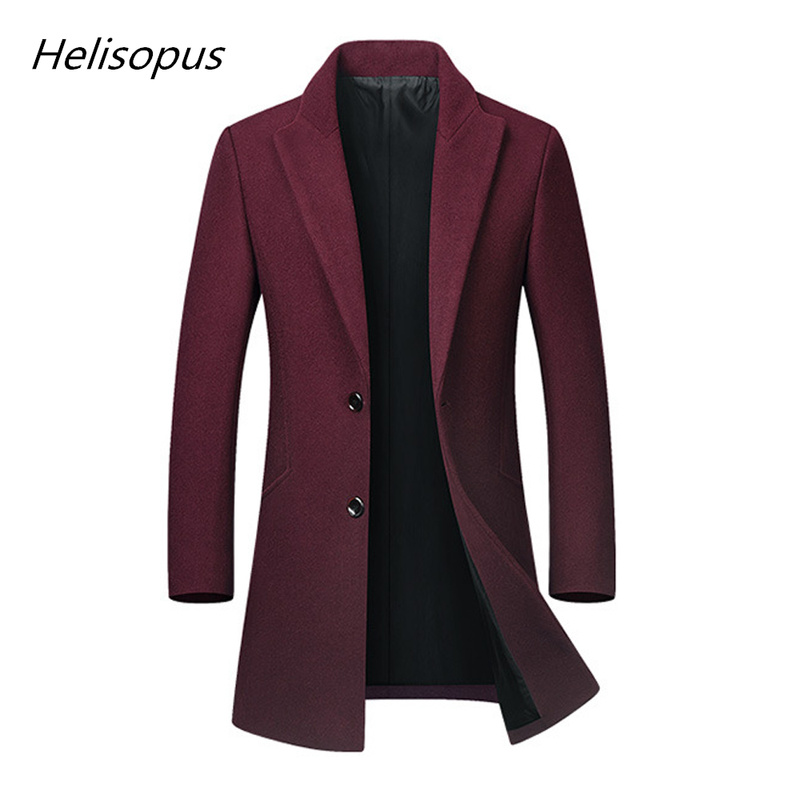 Helisopus Autumn Winter Fashion New Men's Long Wool Coat Male Slim Fit Trench Pure Color Turn Down Collar Overcoat