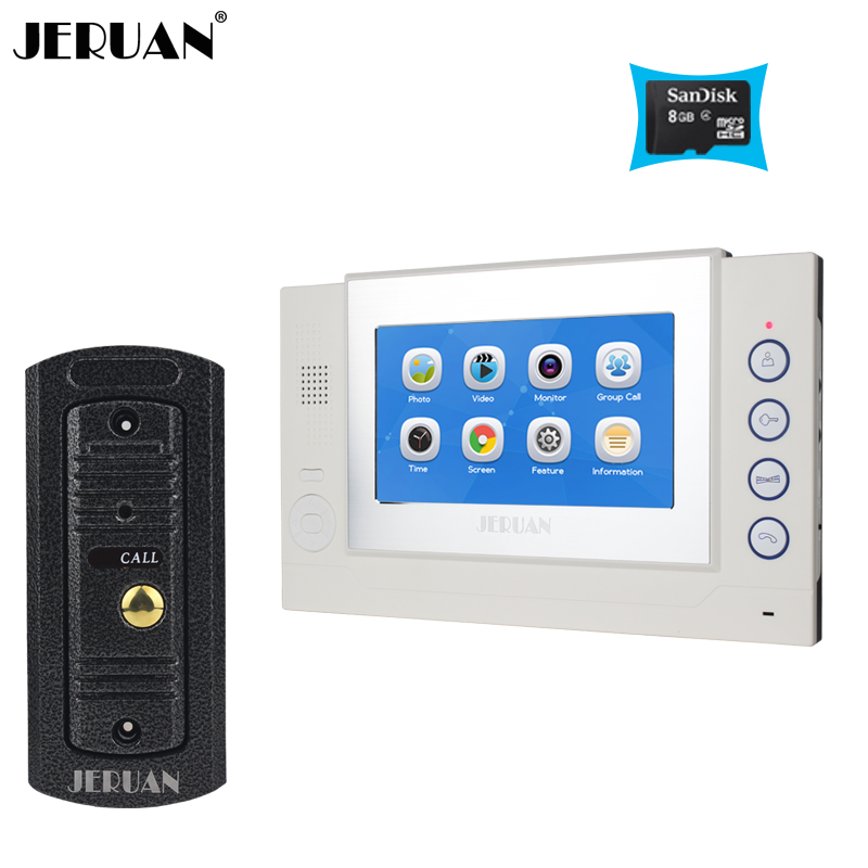 JERUAN 7``  Video door phone Recording Taking Photo doorphone Speaker Intercom System Metal 700TVL HD Mini Camera +8GB TF Card jeruan 8 inch video door phone high definition mini camera metal panel with video recording and photo storage function
