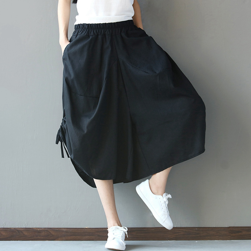 New Summer and Autumn   Pants   Red Black High Waist Women Harem   Pants   Cotton Linen Women   Pant   Casual Loose   Wide     Leg     Pants