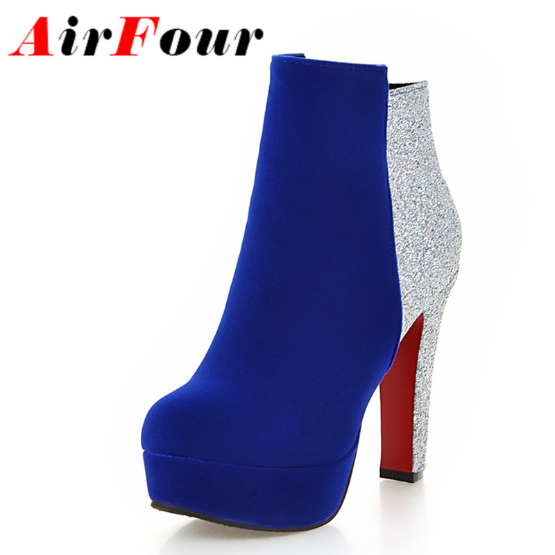 ФОТО Airfour Zippers Sexy High Heels Round Toe Platform Winter Boots Shoes Woman 3 Colors Red Ankle Boots for Women Motorcycle Boots