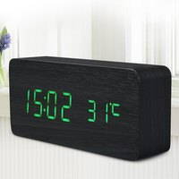 Promotion Quality Digital LED Alarm Clock Sound Control Wooden Despertador Desktop Clock USB AAA Powered Temperature