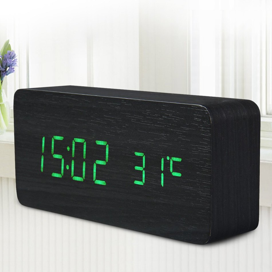 Fashion Digital LED Alarm Clock Sound Control Wooden Alarm Despertador LED Desktop Clock USB/AAA Powered Temperature Display