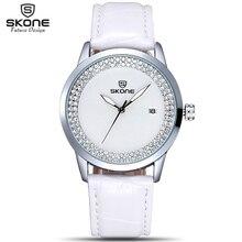 2017 SKONE de Marca Populares Relojes de Las Mujeres Rhinestone de La Manera Reloj de Vestir Casual de Las Señoras Correa de Cuero Relojes de pulsera de Cuarzo Horas de Tiempo