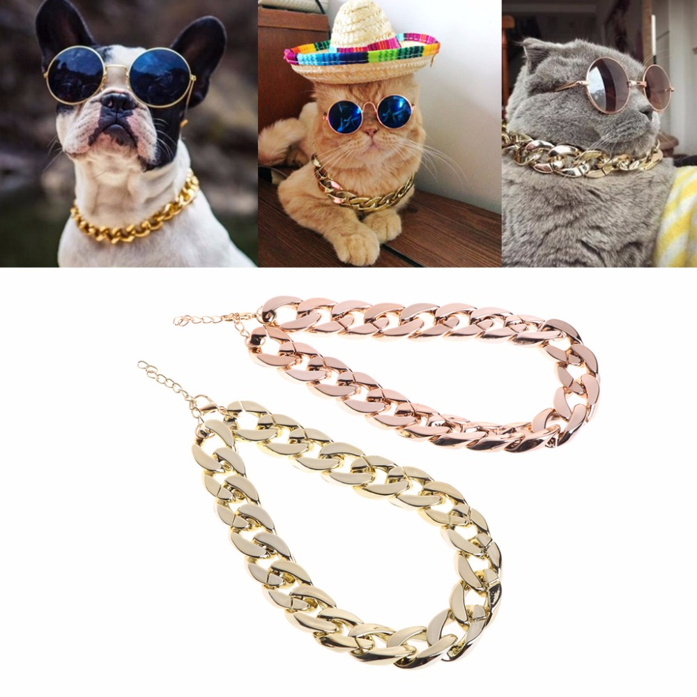 Fashion Pet Dog Necklace Collars Thick Gold Chain Plated