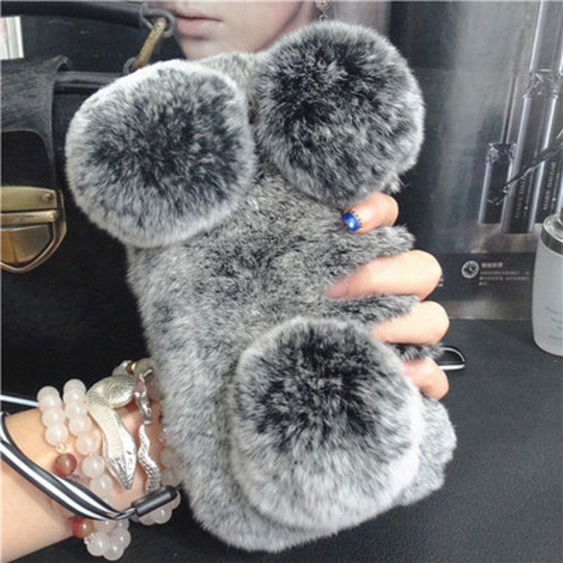 imágenes para Ayeena Cabello Difusa K7 Panda Máscara de Teléfono Para LG G3 G4 G5 V10 K8 K10 Suave Felpa de piel de Conejo Real Mullido Lindo Celular Bolsa Capa