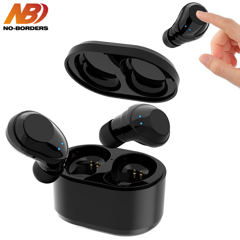 цена NO-BORDERS X6 TWS Wireless Bluetooth Touch Earphone Mini Twins In Ear Earpieces Stereo Handsfree Earbuds With Charging Box Mic